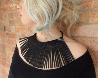 Black leather fringed  necklace