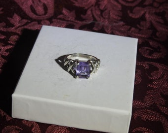 stunning vintage sterling silver and amethyst ring size 7