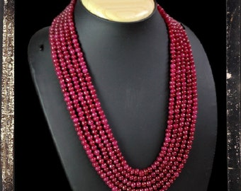 20% OFF COUPON!!!---Red Ruby Bead Necklace, 5 strand, 628.0 ctw