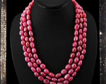 20% OFF COUPON!!!---Red Ruby Bead Necklace, 3 strand, 810.0 ctw