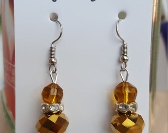 Gold and Brown Summer Shiny Drop Earrings