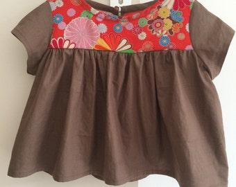 Kimono fabric yoke blouse * has you choose the ground! *.