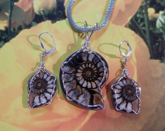 Ammonite Rare Calcified Fossil Pendant And Earrings Unique For The Lover Brilliant