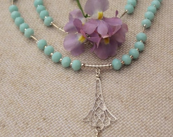 Sterling Silver & Mint Long Necklace with pendant