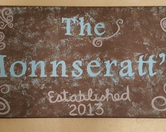"""Hand Painted- Name Canvas 12"""" x 24"""" Made to Order"""