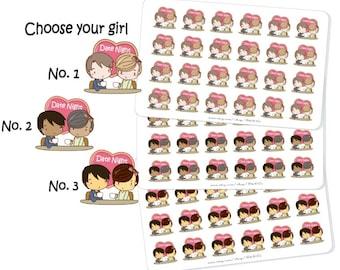 Date Night Sticker, Dating Stickers, Kawaii Stickers, Girl Stickers, Date Night Planner Stickers