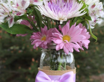Burlap Mason Jar Flower Vase
