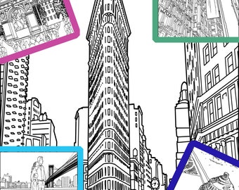 5nycnew york coloring pages for handmade printable instant download on sale for black ink - York Coloring Pages Printable