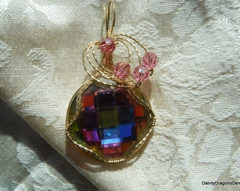 Swavroski Checkerboard Crystal Pendant Wrapped 14kGold Filled Wire