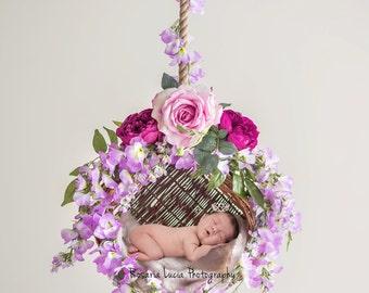 Digital Newborn Background - Floral Swing (Violet)