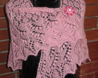 Triangular soft old pink mohair Lace Shawl