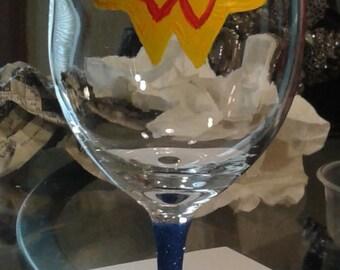 Hand Painted Wonder Woman  Wine Glass