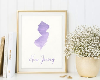 New Jersey map printable, Housewarming gift, State print, New Jersey poster, Digital New Jersey print, Sign, Watercolor state wall art