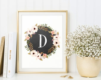 Nursery letters, Printable monogram, Letter D, Floral Wreath, Download, Baby girl, Girls nursery ideas, Digital monogram, Chalkboard letter