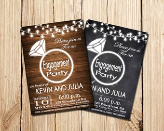 Rustic Engagement Invitation, Engagement Party Invitation, Wedding ring, Chalkboard Engagement invitation, Engagement Party, Printable