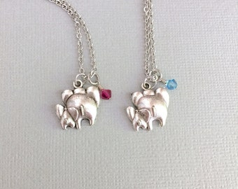Set of 2 Mother Daughter Necklace, Elephant Necklace, Personalized Elephant Jewelry, Birthstone Necklace, Mother's Day, Gift To Mom