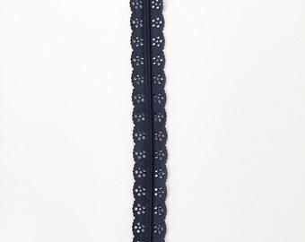 """Dark navy 12"""" lace zipper - Navy zipper - Lace zipper - 12"""" Zipper - Blue zippers - Lace zipper - Dress zipper - Bag zipper - Purse zipper"""