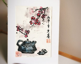 Framed Original Chinese Ink and Wash Painting - Zen Plum Blossom and Tea, 梅花, 17x22cm, Chinese Painting, Wall Art, Home Decor, Great Gift!