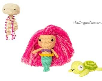 Lorelei siren accompanied by Chipouille the Anemone and Baki the turtle - Amigurumi Crochet
