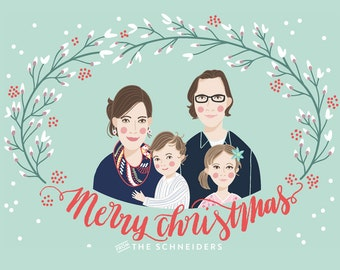 Custom Illustrated Family Portrait Christmas Card // Red, white or mint color way