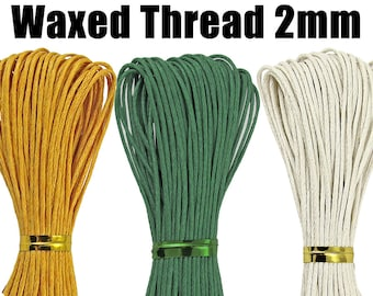 2mm Wax / Waxed Thread / Rope (1/2/5/10 Meters). (Dark Green / White / Marigold Orange) Bracelet Thread, Jewelry Cord, Beading, Sewing.