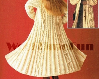 Lady's Long Aran Coat/Cardigan/Jacket Knitting Pattern