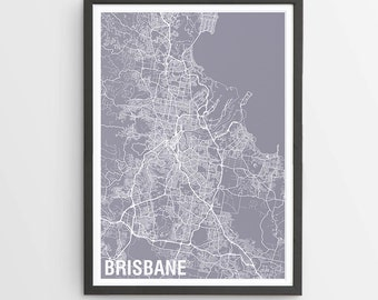 Brisbane City Map Print - Various Colours / Australia / City Print / Australian Maps / Giclee Print / Poster