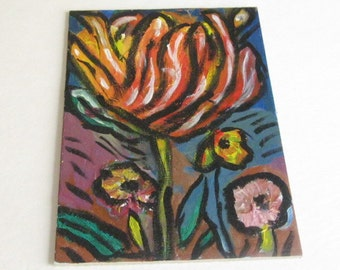 "Floral Abtract Painting Unsigned 6""x9"""
