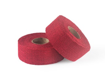 "8oz Red Burlap Ribbon Roll - 10 Yards Long, 1.5"" and 3"" Widths Available, Multiple Pack Sizes Available"