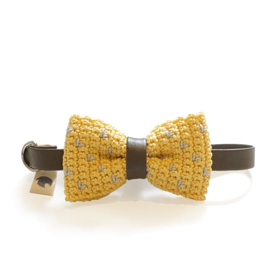 Pet Bow Tie - DIJON MUSTARD, pet accessories, pet bow tie, pet bowtie, dog bow tie collar, cat bow tie collar, crochet bow tie