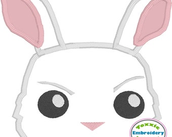 White Rabbit Peeker Applique - Machine Embroidery Design - Appliqué - 5x7 Hoop