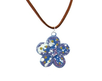 Handcrafted Artisan Polymer Clay Flower Pendant Necklace, Boho Hippie Style Necklace, Artisan Bead Pendant