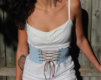 Frayed Denim Corset Belt