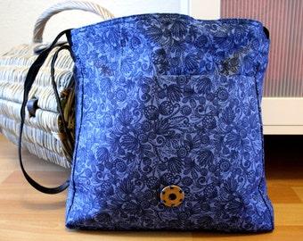 Messenger Bag Blue Handmade Modern with Snap lock