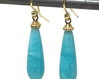 Amazonite Earrings Amazonite Teardrop Earrings Amazonite Drop Amazonite Dangles Turquoise Amazonite Minimalist Earrings Womens Gift for Wife