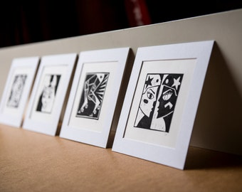 4x Roller Derby Art Prints: Full Collection - hand-printed lino cut