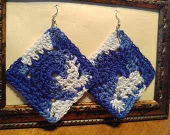Shades of Blue Square Earring