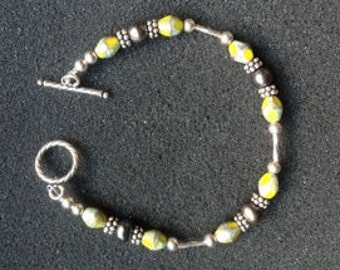 Gray and Chartreuse with Sterling Silver bracelet