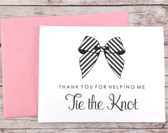 Thank You For Helping Me Tie the Knot Card, Bridesmaid Card, Bridesmaid Thank You Card, Maid of Honor Card, Bridesmaid Gift - (FPS0014)