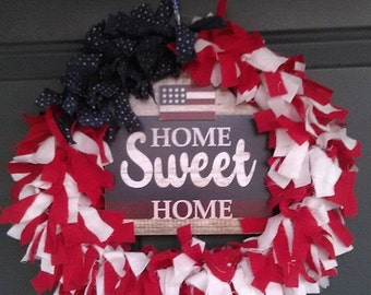 Home Sweet Home red white and blue