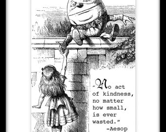 Humpty Dumpty, Alice in Wonderland Vintage Print, StoryBook Print, Through the Looking Glass, Aesop Quote, Inspirational Art Quote Print