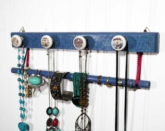Denim Blue Necklace and Bracelet Hanger, Jewelry Organizer for the Country Girl. 2-Tiers w/4 Decorative Knobs. Available in 3 Sizes.