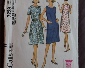 1960s Misses'/Women's Dress (Mad Men Style) Sewing Pattern McCall's 7229 Size 20.5 Bust 41 COMPLETE