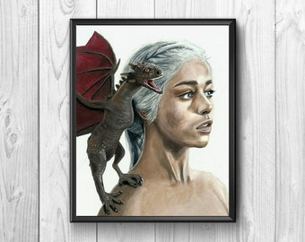 Woman with dragon watercolor print