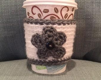 Crochet Gray/White Flower Coffee Cozy | Cup Cozy | Koozy