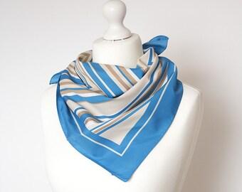 """vintage Square scarf, retro scarf, polyester scarf, fabric women scarf shawl 67x67cm / 26x26"""" ornamental geometric chevron scarf blue"""
