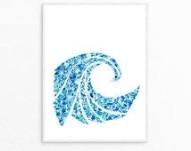 Ocean Wave Print, Ocean Water Art, Sea Water Print, Surfing Wave Poster, Beach Poster, Tropical Art Poster< digital Print, Printable Art