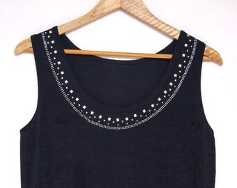 Vintage Grunge Vest Top With Studded Neckline