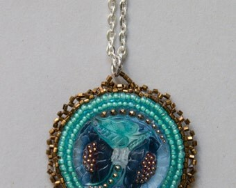 Bead Embroidered Blue and Gold Pendant Necklace
