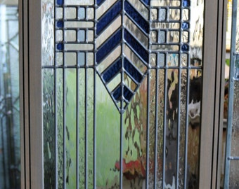 Ready to Ship! * Clear & Blue Leaded Glass